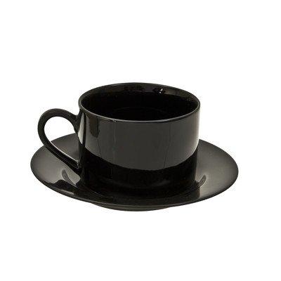 Ten Strawberry Street Black Rim 6 oz. Teacup and Saucer (Set of 6) BRB0009