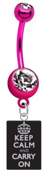 keep-calm-carry-on-black-metal-charm-on-premium-pink-titanium-anodized-sexy-cute-belly-button-navel-