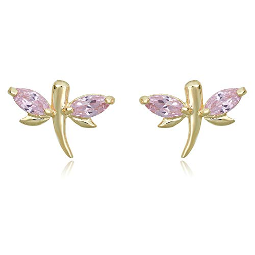 10K Yellow Gold Dragonfly Pink Marquis Simulated Diamond CZ Stud Earrings