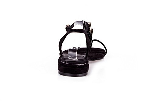 AmoonyFashion Womens Toe Split Solid heels Imitated Low Suede Black Buckle Sandals rrxYTFdq
