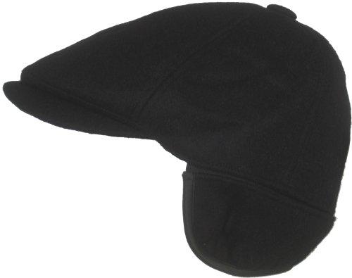 Dorfman Pacific Wool Ivy Scally Cap with Ear Flap (Black, Medium) (Dorfman Pacific Ivy)