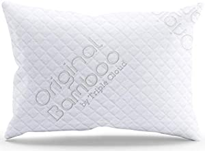 Triple Cloud Pillows Shredded Memory Foam Adjustable Standard/Queen Pillow with Removable Hypoallergenic Cover - Made in The USA (Standard/Queen)