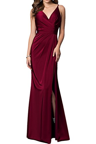 Aermellos Etuikleider Damen Ballkleider Braut La Chiffon Gruen Burgundy Bodenlang mia Abendkleider Partykleider Dunkel 6HO6gWXq