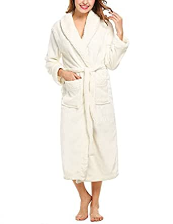 HOTOUCH Women's Long Plush Warm Fleece Bathrobe Robe White S