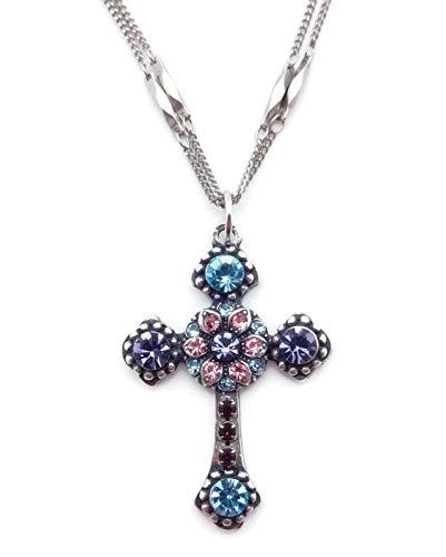 (Mariana Cotton Candy Swarovski Crystal Cross Pendant Necklace Blue Purple Pink 144)