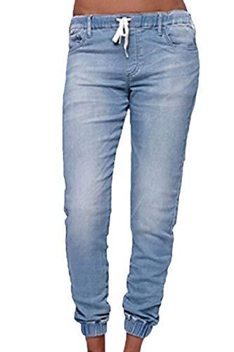 Sopliagon Vaqueros Mujer Casual Jogger Elastico En Cintura Elástico Tapered Vaqueros Azul
