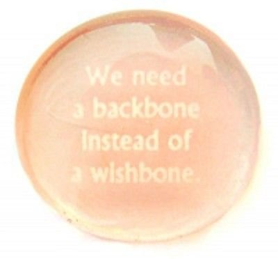 We Need A Backbone Instead Of A Wishbone. Colored Glass Imprinted Stones - Character Building Phrases