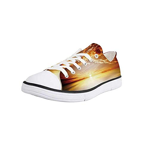 Canvas Sneaker Low Top Shoes,Sun,Majestic Sunset View Tranquil Horizon Dramatic Skyscape Clouds Ocean Outdoors Women 11/Man 8