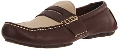 Polo Ralph Lauren Men's Telly Penny Loafer,Dark Brown/Khaki Calf/Twill,11 D US