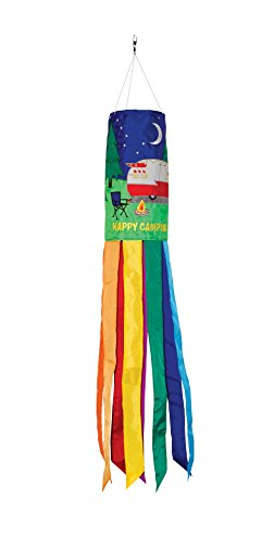Happy Camping Retro Trailer Windsock made our camp flag list of the most awesome camping flag and cool rv flags and camping flags spinners