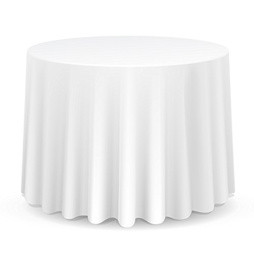 "Lann's Linens - 10 Pack of 70"" Round White Polyester Tablecloth Covers for Weddings, Banquets, or Restaurants"