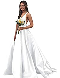 28b133f8743 V Neck Prom Dresses Long Stain Evening Ball Gowns for Women Formal with  Pockets