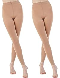 e31f16d7efa4 2 Pairs Run Resistant Control Top Panty Hose Opaque Tights