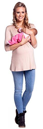 Happy Mama - Camiesta para mujer con agujero para lactancia, con mangas de 3/4, doble capa   negro beige 38/40
