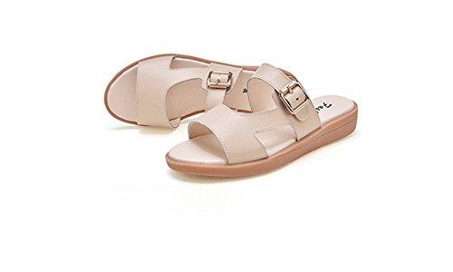 weiwei Boucle Protection Cool en Plat Pantoufles C Mesdames Fashion Métal Sandales D'Été De Fond fWxfwSYnqr