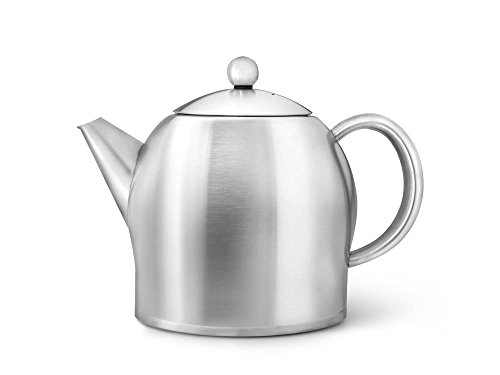 bredemeijer Santhee Double Walled Teapot, 1.4-Liter, Stainless Steel Satin Finish with Satin Accents by bredemeijer