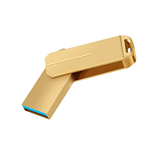 PANGUK 128GB USB 3.0 Flash Drives Pen Drive Memory Stick Thumb Drive USB Drives (128GB Gold)