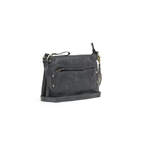 Born Womens Nobay/Bronco Hampton Crossbody Distressed Leather Shoulder Bag, Black by Born
