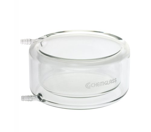 Chemglass CG-1107-11 Flat Bottom Low Form Jacketed Beaker with Large Opening at the Top of Jacket, 75 mm W x 150 mm H by Chemglass