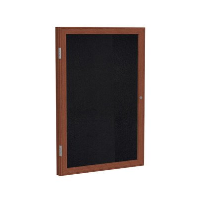 1 Door Enclosed Bulletin Board Frame Finish: Walnut, Surface Color: Black, Size: 3' H x 2'6'' W