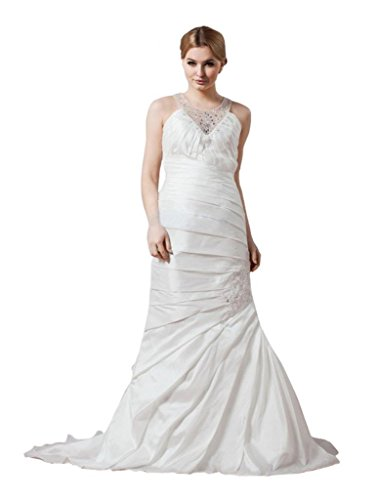 Taffeta Beading - Scarlett Women's Beading Mermaid Taffeta Wedding Bridal Dress Size 14 Ivory