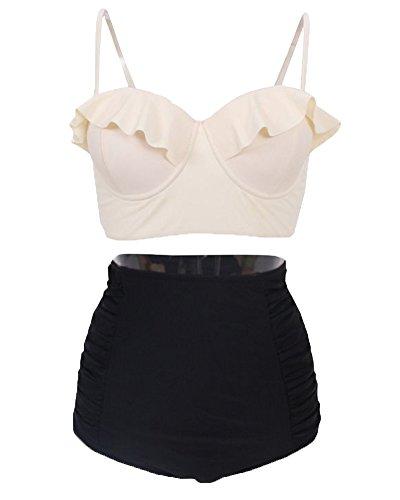 Mujeres Retro Cintura Alta Push Up Bikini de Impresión Traje De Baño 7