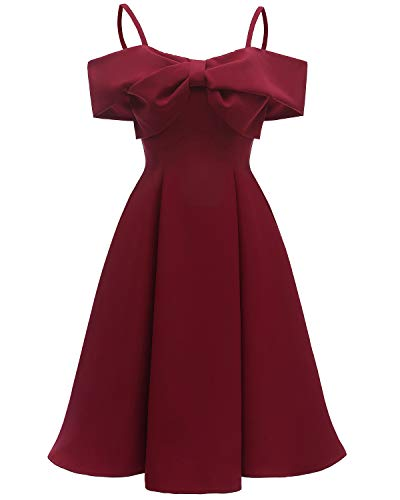 ANCHOVY Women Cocktail Swing Dress Elegant Retro Bridesmaid Dress with Bowknot C80 (Wine Bowknot, S)