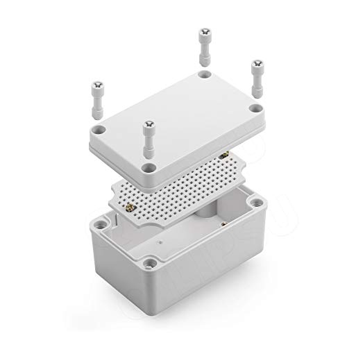 Junction Box With Mounting Plate ABS Plastic DIY Electrical Project Case IP67 Waterproof Dustproof Enclosure Grey 110x80x70mm(4.3