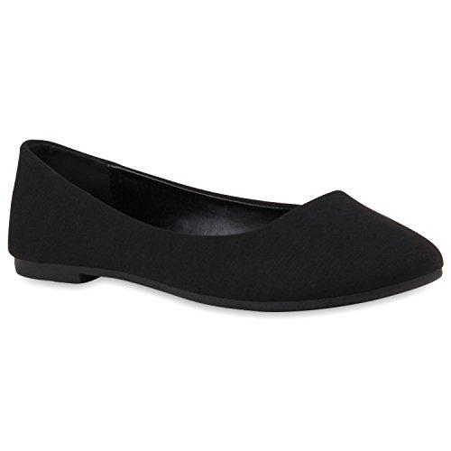 Klassische Damen Ballerinas Leder-Optik Flats Schuhe Übergrößen Flache Slipper Spitze Prints Strass Flandell Schwarz Total