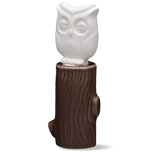 Ceramic Aroma Diffuser, Owl | Small Ceramic and Porcelain Essential Oil Wicking Diffuser | No Electricity or Water Required | Use in Home, Office, Bathroom, Desk, Bedroom | 2 Weeks per Refill - 15mL ()
