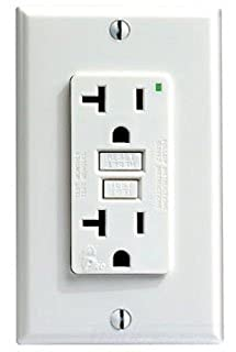 White SmartlockPro GFCI Leviton 7899-W 20 Amp 125 Volt with Indicator Light Nylon Wallplate and Screws Included