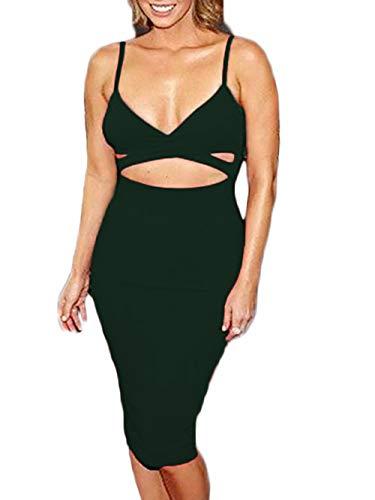 Women's Spaghetti Strap Cut Out Criss Cross Bodycon Clubwear Dress L Dark Green