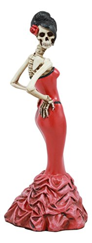 :Ebros Day Of The Dead Rose Diva Lady In Red Ballroom Gown Skeleton Statue 8.5