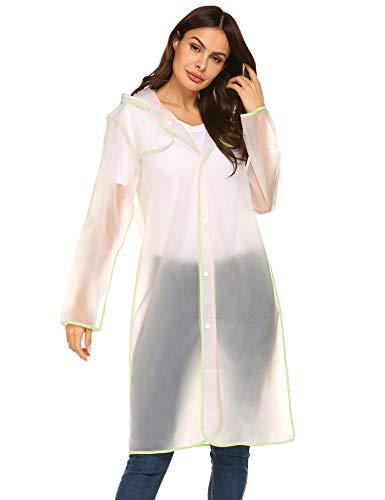 Long Ladies Jacket - Portable Raincoat Rain Poncho with Hood Ladies Portable Fashion Clear Rainwear M