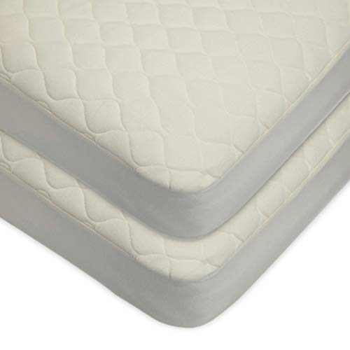 TL Care Twin Pack Waterproof Quilted Crib Size Fitted Mattress Cover Made with Organic Cotton, Natural Color - Vinyl Free