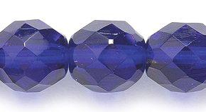 Preciosa Czech Fire 10mm Polished Glass Bead, Faceted Round, Transparent Cobalt, 50-Pack