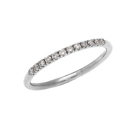 Elegant 10k Stackable Diamond Wedding Band in White Gold (Size (Elegant Diamond Wedding Bands)