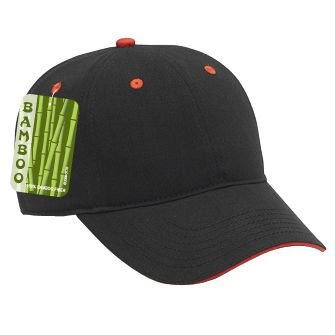 (OTTO Brushed Bamboo Twill Sandwich Visor 6 Panel Low Profile Baseball Cap - Blk/Blk/Red)