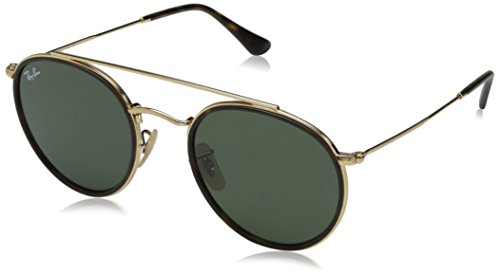(Ray-Ban Metal Unisex Sunglass Round, Gold, 51.2 mm)