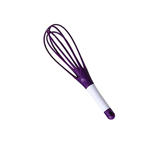 Egg Beaters - Plastic Foldable Egg Beater Dual-use Manual Egg Blender Milk Frother Sweet Color Cream Whisk Dough Paste Ballon&flat Mixer - Purple - Substitute Makeup Brush Tools Cleats ()