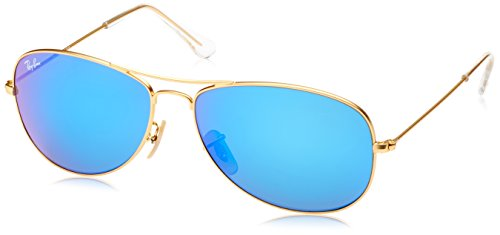 Ray-Ban COCKPIT - MATTE GOLD Frame GREY MIRROR BLUE Lenses 59mm - Aviators Ban Ray Frame Blue