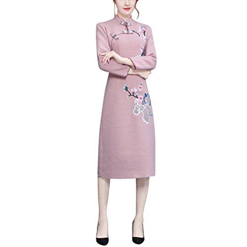 HÖTER Women's Vintage Style Cashmere Mandarin Collar Embroidery Slim Pink Qipao Cheongsam Dress (Pink Collar Dress Mandarin)
