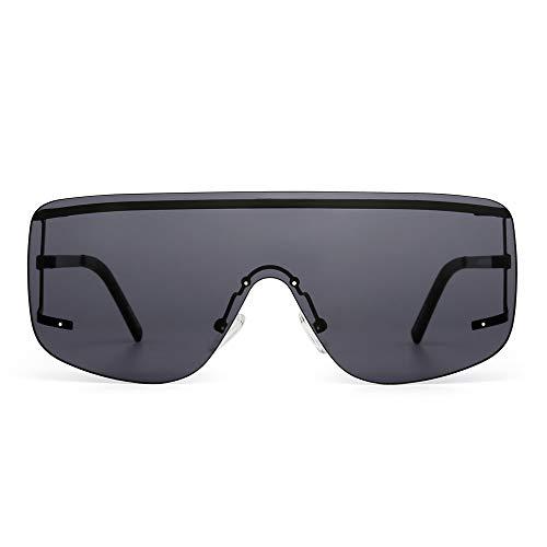 Oversized Shield Sunglasses Flat Top Gradient Lens Rimless Eyeglasses Women Men (Black/Grey) (Shield For Men Sunglasses)
