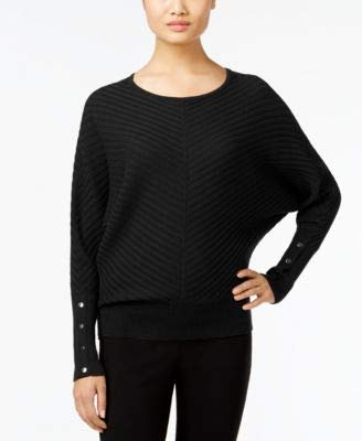 Alfani Womens Petites Ribbed Knit Dolman Sleeves Pullover Sweater Black PL