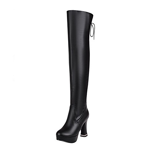 AmoonyFashion Womens Round-Toe Closed-Toe High-Heels Boots With Bandage and Thread Black OwUmoOUX9V