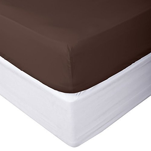 HighCaliber Beddings 100% Egyptian Cotton Fitted Sheet 800 Thread Count Solid 1 Piece (Bottom Sheet Only) King Size Sateen Weave 20 inch Deep Pocket Chocolate - Fitted Chocolate Sheet