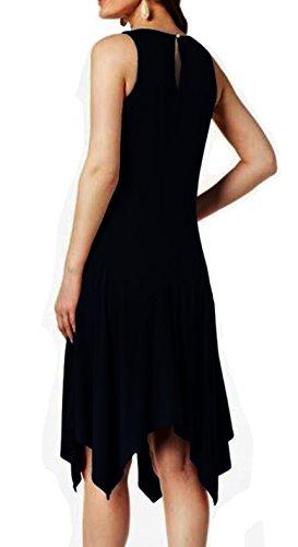 DILANNI Women Short Sleeve Round Neck Summer Casual Asymmetry Midi Loose T-Shirt Dress
