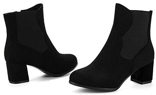 Idifu Kvinners Klassiske Runde Toe Faux Suede Ankelstøvletter Midten Chunky Hæler Side Zippe Sokker Sorte