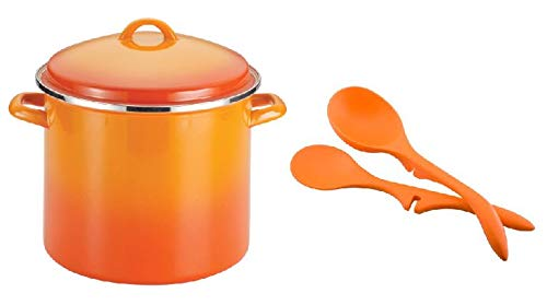 (Rachael Ray Enamel 12-Quart Covered Stockpot Steel in Orange Gradient with 2-Piece Lazy Spoon and Ladle Set in Orange)