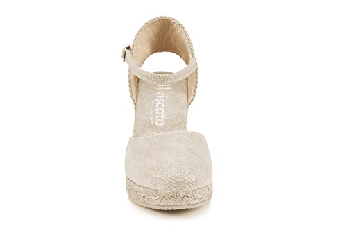 with Toe Espadrilles Closed Classic TieDyeGold Made in VISCATA Ankle Spain Satuna 3 Heel Strap inch xq0AIY